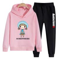 儿童套装 女童长袖卡通连帽上衣长裤子2020春秋装洋气韩版学生中大童卫衣运动时尚两件套