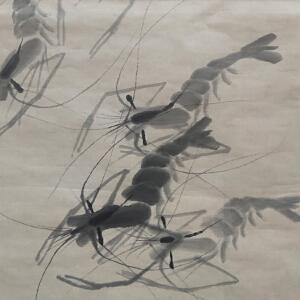 齐良迟 白石四子 经典中国水墨画作品 虾趣 尺寸35*67cm