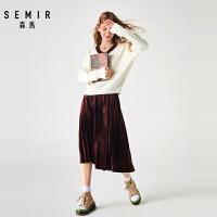 森马针织套装女2019冬季新款V领撞色毛衫丝绒百褶半身裙高腰显瘦
