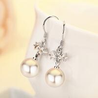 女气质贝珍珠镶钻精美耳环时尚饰品s925银简约蝴蝶耳钉