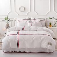 青少年磨毛床裙四件套棉被套棉1.5m/1.8米保暖床品套件欧美风qPP 白色 磨毛床裙四件套2米床