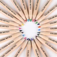 金万年2618/2619原木彩色铅笔 短杆12/24色涂鸦铅笔 学生绘画彩色铅笔