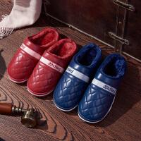 棉拖鞋女冬季室内居家用保暖防滑厚底毛情侣男皮防水半包跟秋家居