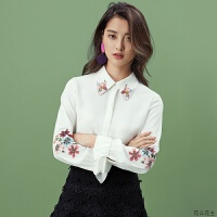 雪纺白衬衫女长袖2018秋装新款韩范刺绣上衣打底职业衬衣
