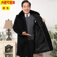 潮牌热推 爸爸加绒加厚羊毛大衣中老年毛呢长款风衣老人保暖格纹外套冬季