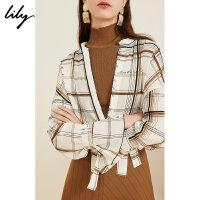 Lily2019夏新款女装气质格纹字母印花宽松长袖衬衫119210C4130