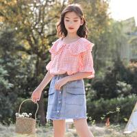 女童娃娃衫短袖夏季2019新款洋气女孩木耳边衬衫中大童衬衫上衣