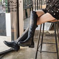玛菲玛图长靴女2019新款帅气骑士靴高筒靴圆头低跟平底马丁靴侧一脚款过膝靴13557-1PW