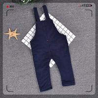 秋冬装0-3个月男宝宝加绒加厚背带裤婴幼儿新生儿牛仔裤6-12个月