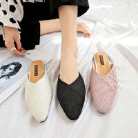 时尚百搭平底鞋简约包头半拖女鞋 新款外穿女士单鞋韩版尖头浅口黑色拖鞋
