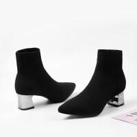2019新款弹力短靴高跟鞋女粗跟针织尖头袜子靴中筒靴瘦瘦靴连袜靴