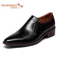 红蜻蜓男鞋秋冬皮鞋商务休闲套脚鞋尖头皮鞋单鞋