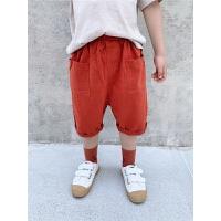 童装夏季男童棉质纯色中裤儿童七分短裤中小童休闲裤子