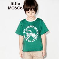 【2件4折 到手价119.6】littlemoco男女童胶印字母图案撞色圆领T恤KA172TEE204 moco