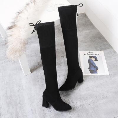 长靴女2019秋冬季新款瘦瘦靴尖头高跟长靴女粗跟高跟高筒靴女大码