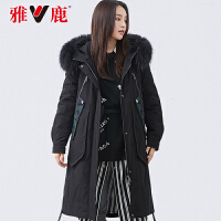 yaloo/雅鹿2019冬新款派克服女中长款过膝貉子毛羽绒服加厚韩版DH