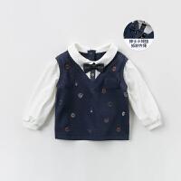 davebella戴维贝拉男童套头衫2020春新款宝宝假两件上衣DB13790