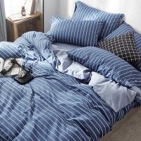 全棉纯棉床品四件套1.8m床双人简约床单被罩三件套被套床笠款
