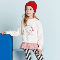 [2件3折价:98.1]davebella戴维贝拉Kids春季新款女童卫衣中大童裙式上衣DBK10672