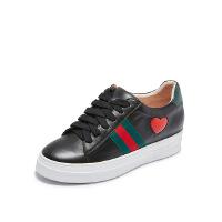 爱旅儿哈森旗下爱心双色织带增高鞋小白鞋休闲鞋EC75003
