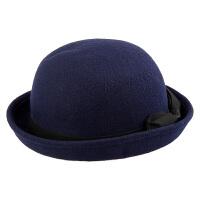 蝴蝶结纯羊毛呢帽子女士圆顶复古英伦 小礼帽卷边毡帽可爱