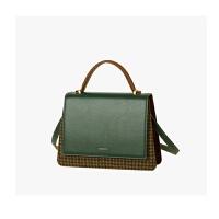 气质深色系包包女冬季新款小众设计毛呢千鸟格拼色方包手提 墨绿色 少量现货