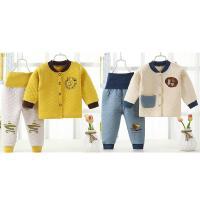秋冬保暖内衣三层儿童高腰加棉女婴婴儿男宝外穿男童加绒套装护肚