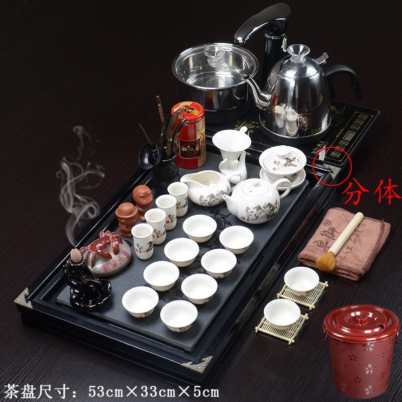 实木茶盘茶具套装紫砂功夫茶具陶瓷礼品全自动电器茶具茶盘茶杯茶壶茶道功夫茶具套装家用整套茶具