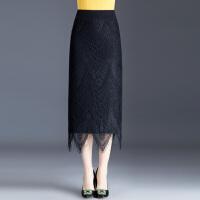 两面穿蕾丝针织裙毛线裙半身裙女秋冬高腰松紧腰包臀中长裙一步裙 S 腰围 一尺九~二尺