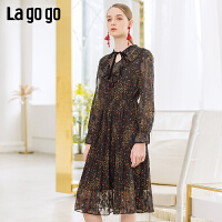 【清仓5折价203】Lagogo2019春季新款文艺气质裙子中长款复古连衣裙女IALL401A32