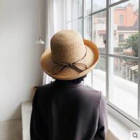 拉菲草女士帽子海边度假优雅卷边草帽INS沙滩可折叠防晒网红同款时尚新品
