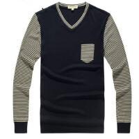 时尚修身V领拼色套头男士薄款毛衣韩版针织衫外套