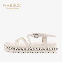 【 限时4折】哈森 2019夏季新款女鞋 牛皮革绑带休闲HM94405