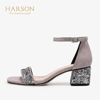【 限时4折】哈森夏季通勤拼色一字带露趾高跟凉鞋HM96507