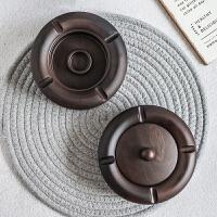 黑檀实木创意烟灰缸带盖个性烟灰缸家用茶具配件家居装饰烟缸摆件
