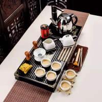 功夫茶具套装家用整套简约实木茶盘茶壶祥龙雪花小兰香二合一套装功夫茶具套装