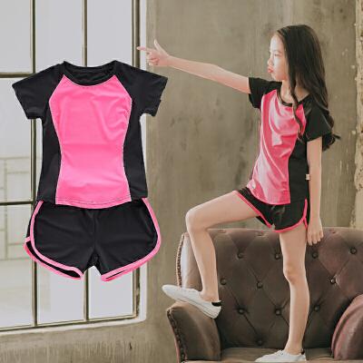 夏季女童运动服短袖运动套装跑步户外网球套装