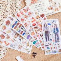满18包邮韩国手账贴纸手帐文具素材创意透明可爱手机装饰贴画胶带