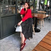 卡贝琳女小个子红色衬衫两件套2019新款秋装洋气时尚显瘦御姐女神范套装裙