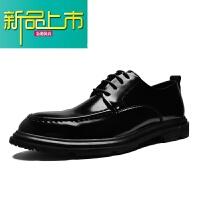 新品上市秋季男士商务正装皮鞋亮面漆皮休闲英伦韩版潮流尖头系带厚底鞋子 黑色