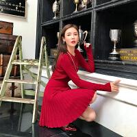 卡贝琳女2019新款秋装本命年新年过年衣服红色针织连衣裙女秋冬打底毛衣裙女