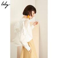 【6/1-6/3 2件2折价:139.8元】 Lily春女装气质蕾丝荷叶袖宽松套头衫衬衫119140C4252