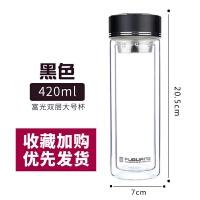 玻璃杯单层带盖男大容量水杯透明便携500ml双层杯子加厚茶杯抖音