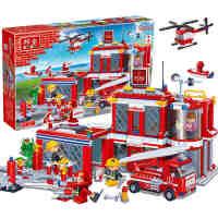 【小颗粒】邦宝益智拼插儿童积木玩具创意建筑城市房消防总部8311 城市消防总署8355