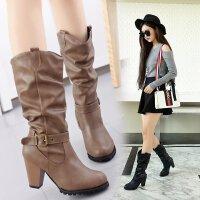 女鞋冬季新品长筒女靴尖头舒适欧美风加绒保暖皮带扣长靴子