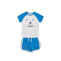 【2件3折 到手价:35】初纺2019夏季新品 男童宝宝 短袖短裤 印花针织套装