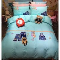 美式儿童床品四件套纯棉全棉男孩地中海样板房间英伦风床单三件套