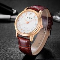 沃力仕WLISTH品牌情侣手表 皮带女士防水腕表 金壳学生对表