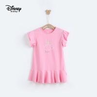 迪士尼童装快乐星球女童针织短袖连衣裙夏季裙子新款