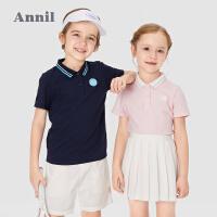 【2件4折价:55.6】安奈儿童装男女童POLO衫2021夏新款洋气运动风儿童翻领短袖T恤薄